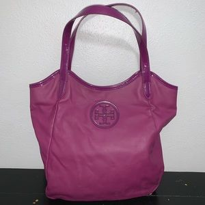 Tory Burch Purple Canvas Tote Bag